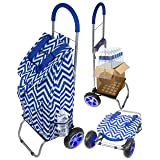 dbest products Trolley Dolly, Blue Chevron Shopping Grocery Foldable Cart
