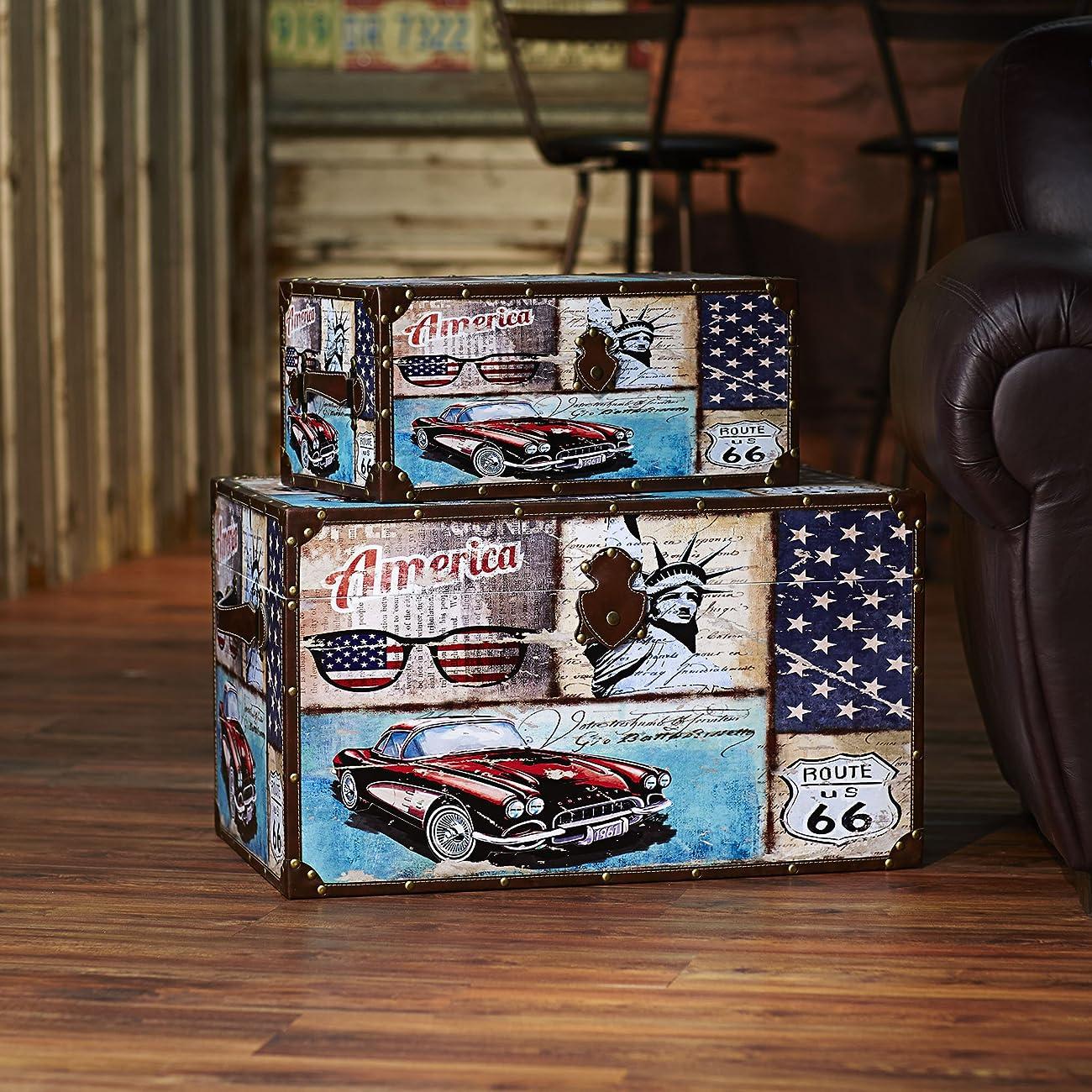 Household Essentials Decorative Storage Trunk, Classic Americana Vintage Car Design, Set of 2 1
