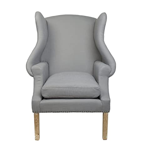 Safavieh Alex Wing Back Chair, Wood, Arctic Grey