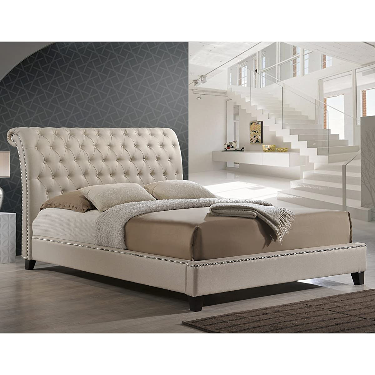 Baxton Studio Jazmin Tufted Modern Bed with Upholstered Headboard, Queen, Light Beige