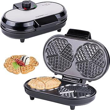 Macchine per Waffle, Piastra per Waffel a 10 cuori, cuoricini, macchinetta per Waffel, Waffel a cuore doppio, termostato, impostazione infinitamente regolabile del grado di cottura, spia di preparazione