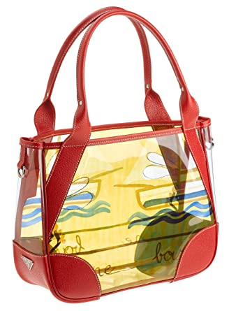 Amazon.com: Prada Women\u0026#39;s Printed Plastic Tote Bag with Leather ...