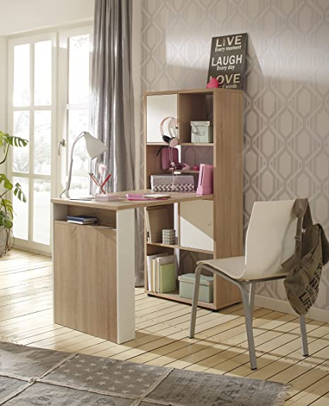 Minioffice von MAJA Möbel in Sonoma Eiche / Weiß matt 64x145x114cm wechselseitig montierbar Buro Komplettset Homeoffice