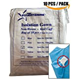 Dental Medical Latex Free Disposable Isolation Gowns Knit Cuff Non Woven | Fluid Resistant (10 Gowns/Pack, White) (Color: White, Tamaño: 10 Gowns / Pack)