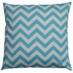 JinStyles Cotton Canvas Chevron Striped Accent Decorative Throw Lumbar Pillow Cover (Carolina Blue & White Rectangular)