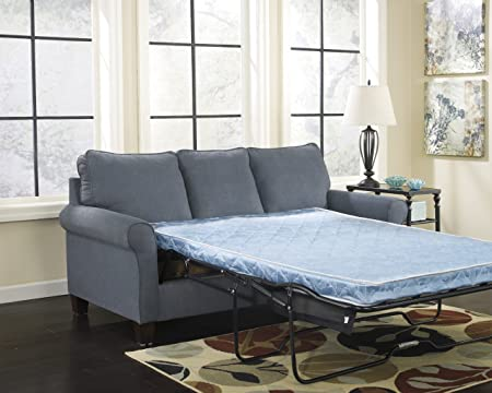 Zeth Denim Tone Fabric Upholstery Contemporary Design Twin Size Sofa Sleeper
