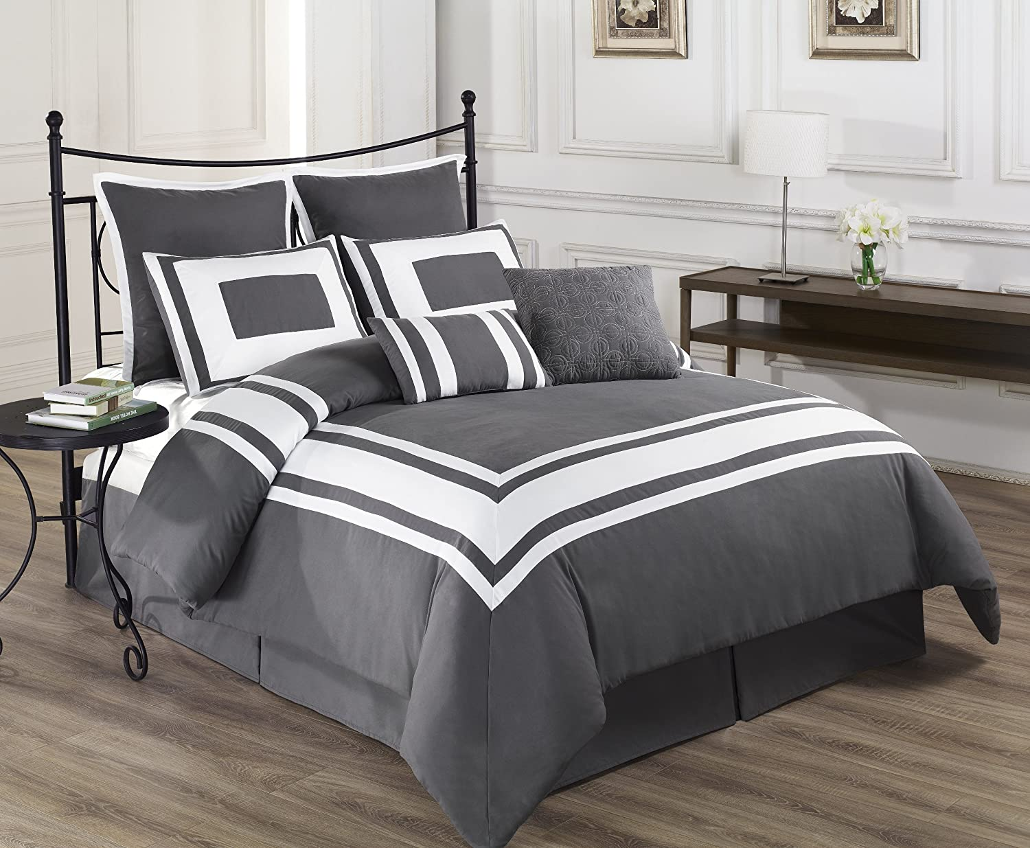 Grey And White Striped Bedding Images