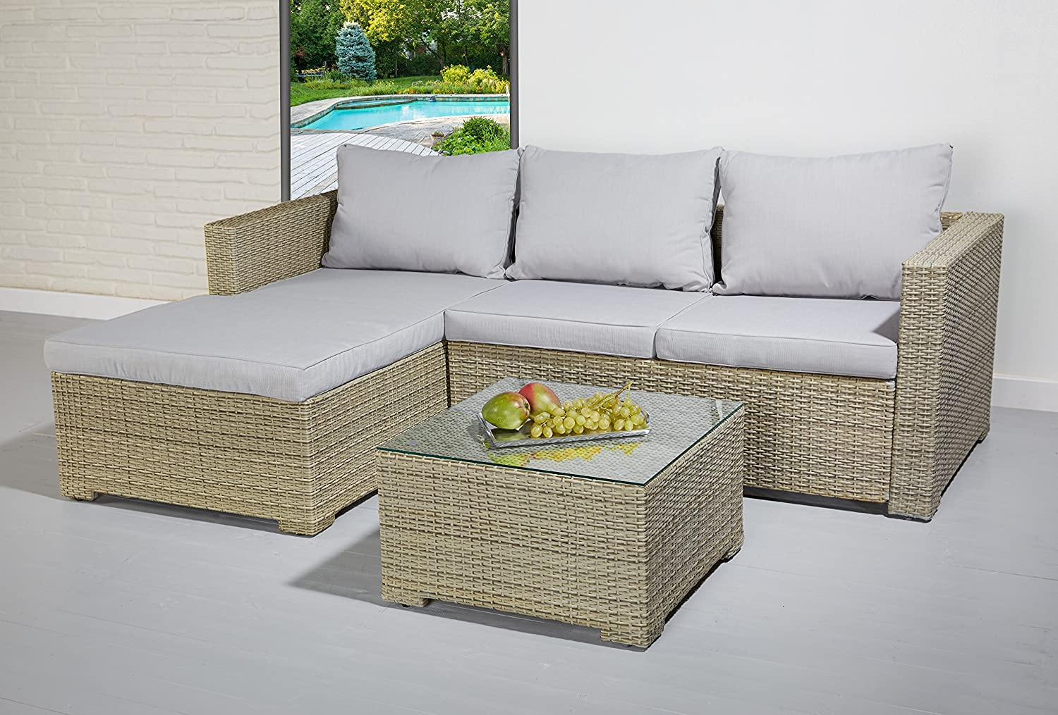 poly rattan essgruppe sitzgruppe braun grau lounge set garnitur gartenm bel g nstig kaufen. Black Bedroom Furniture Sets. Home Design Ideas