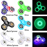 Fidget Spinner 6 Pack | Multi-Colored LED, 2 Glow-In-The-Dark, American Flag, Black White Premium Stress Reducer Tri-Spinner for Party Favor, School Classroom Reward and Easter Basket Stuffers Fillers