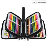YOUSHARES 72 Holders Handy Multi-layer Zipper Pencil Case with Handle Strap, Oxford Fabric, Black (Color: Black)