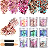 Tatuo 10 Boxes Nail Chunky Glitter Sequins Iridescent Flakes Cosmetic Paillette Ultra-thin Tips with 10 Pieces Eyeshadow Brushes for Face Body Hair Nails