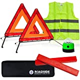 Always Prepared Safety & Visibility Kit w/ Storage Bag (2 x Foldable Emergency Triangles + Roadside Warning Light + Reflective Vest)