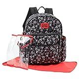 Disney Mickey Mouse Toss Head Print Backpack Diaper Bag, Black (Color: Black)