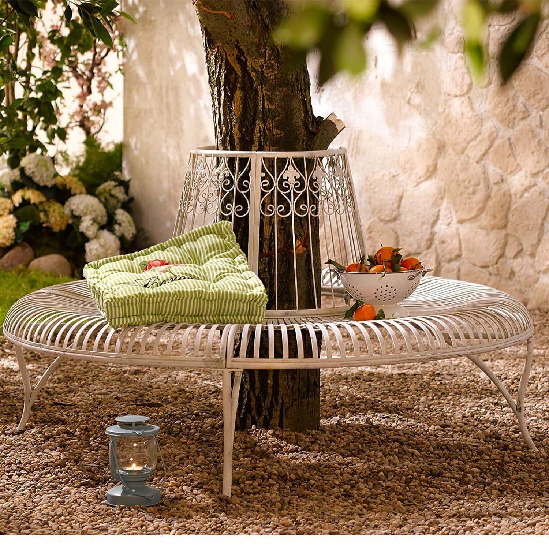 Gartenbank in rund, Baumbank, Antikweiß, Metall, ca. 82 cm hoch, 144 cm ø jetzt kaufen