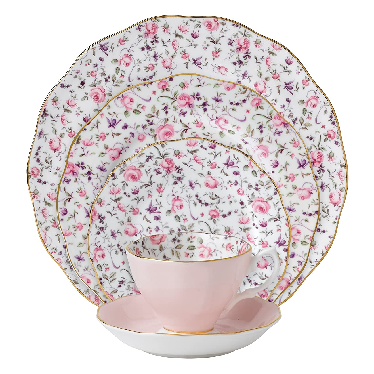 Royal Albert New Country Roses Rose Confetti Vintage Formal Place Setting, 5-Piece 0