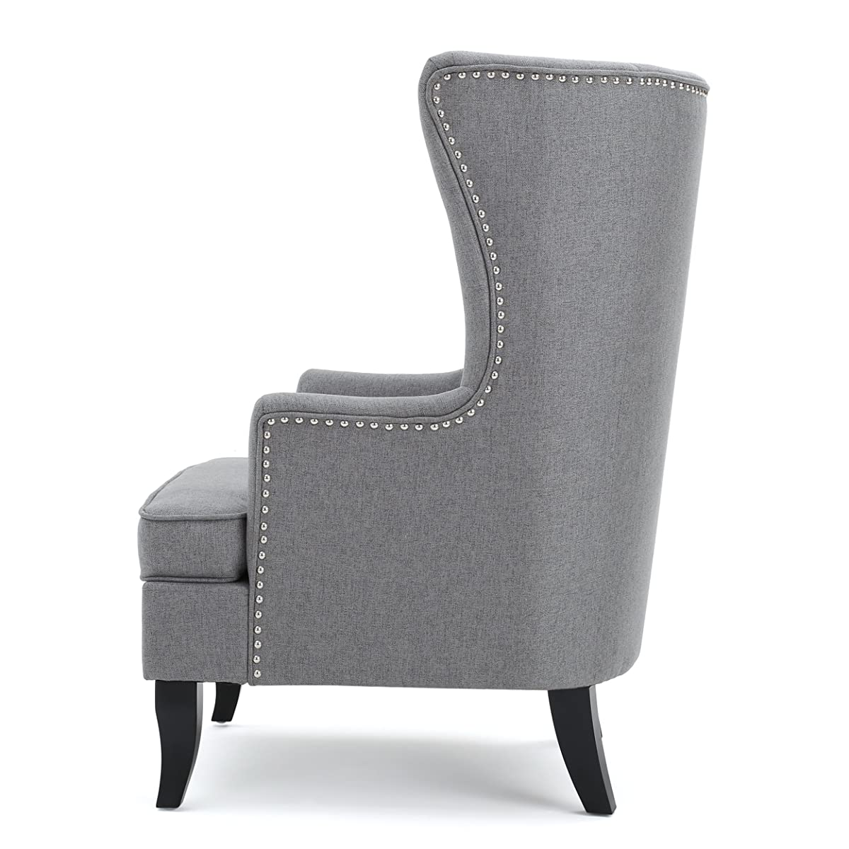 Finlay High Back Grey Fabric Wing Chair