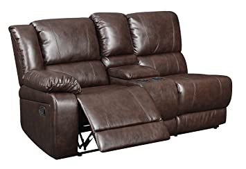 Glory Furniture G975-SC-LAF-RL LAF Loveseat with Console, Chocolate