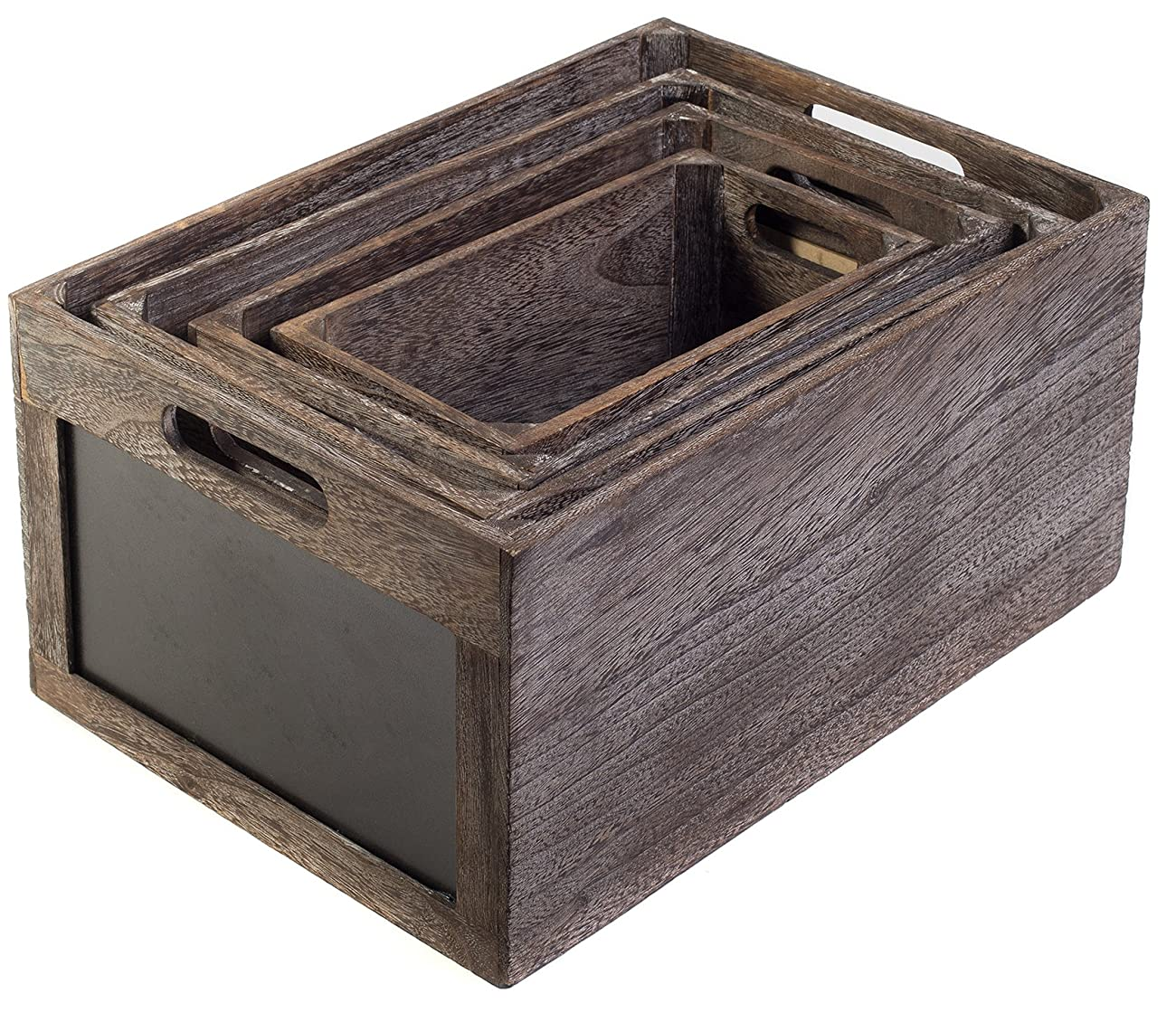 Vintage Style Produce Chalkboard Front Crates Wooden Box - Set of 4 1