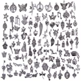Hraindrop Wholesale 100 Pieces Mixed Pendants Charms for Jewelry Making and Crafting - Smooth Tibetan Silver Bulk Charms DIY For Jewelry Making (Color: silver)