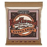 Ernie Ball Earthwood Extra Light Phosphor Bronze Acoustic String Set, .010 - .050