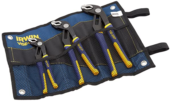IRWIN Tools VISE-GRIP GrooveLock Pliers Set, 3-Piece with Kit Bag (2078711) (Color: Blue, Stainless, Yellow, Tamaño: 3-pack (8, 10, 12) with bag)