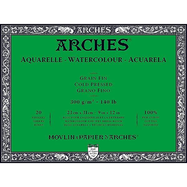Arches Watercolor Paper Block, Cold Press, 9 x 12, 140 pound (Color: Black, Tamaño: 9x12)