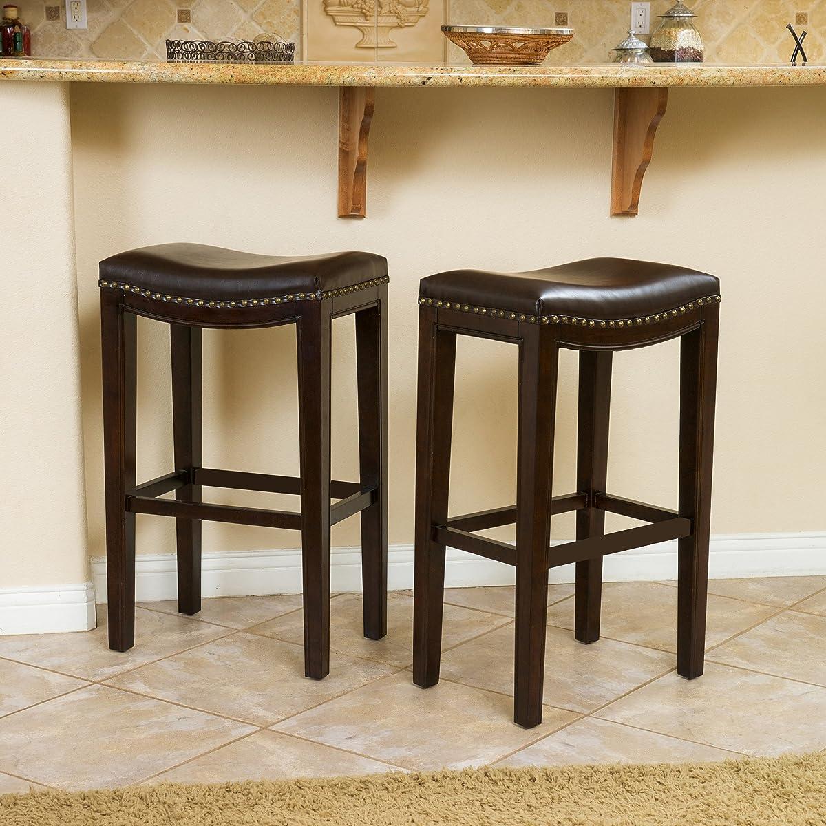 Jaeden Backless Brown Leather Bar Stools (Set of 2)