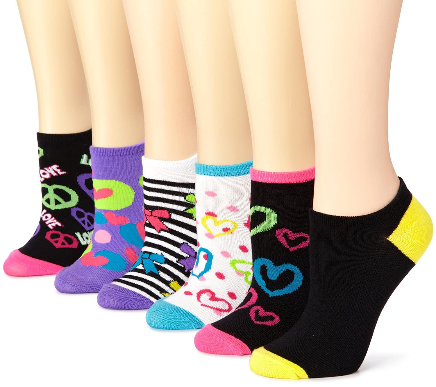 K. Bell Women's 6-Pack Neon Bows & Hearts No Show Socks