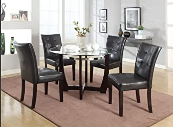 Roundhill Furniture 5 Piece Wesley Round Glass Top Dining Set, Cappuccino