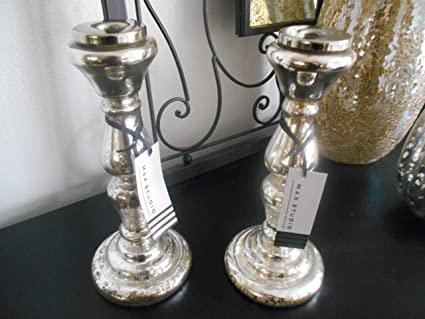 Silver Mercury Glass Candle Stick Holders - Set of 2 by Luxury Home Creations
