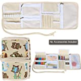 Teamoy Crochet Hook Case, Canvas Roll Bag Holder Organizer for Various Crochet Needles and Knitting Accessories, Coffee Owls (Color: Coffee Owls, Tamaño: Canvas Crochet Hook Case)