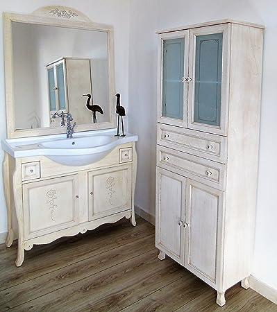 Arredo bagno avorio decape shabby chic liberty decori fiore con colonna bagno vetri decorati