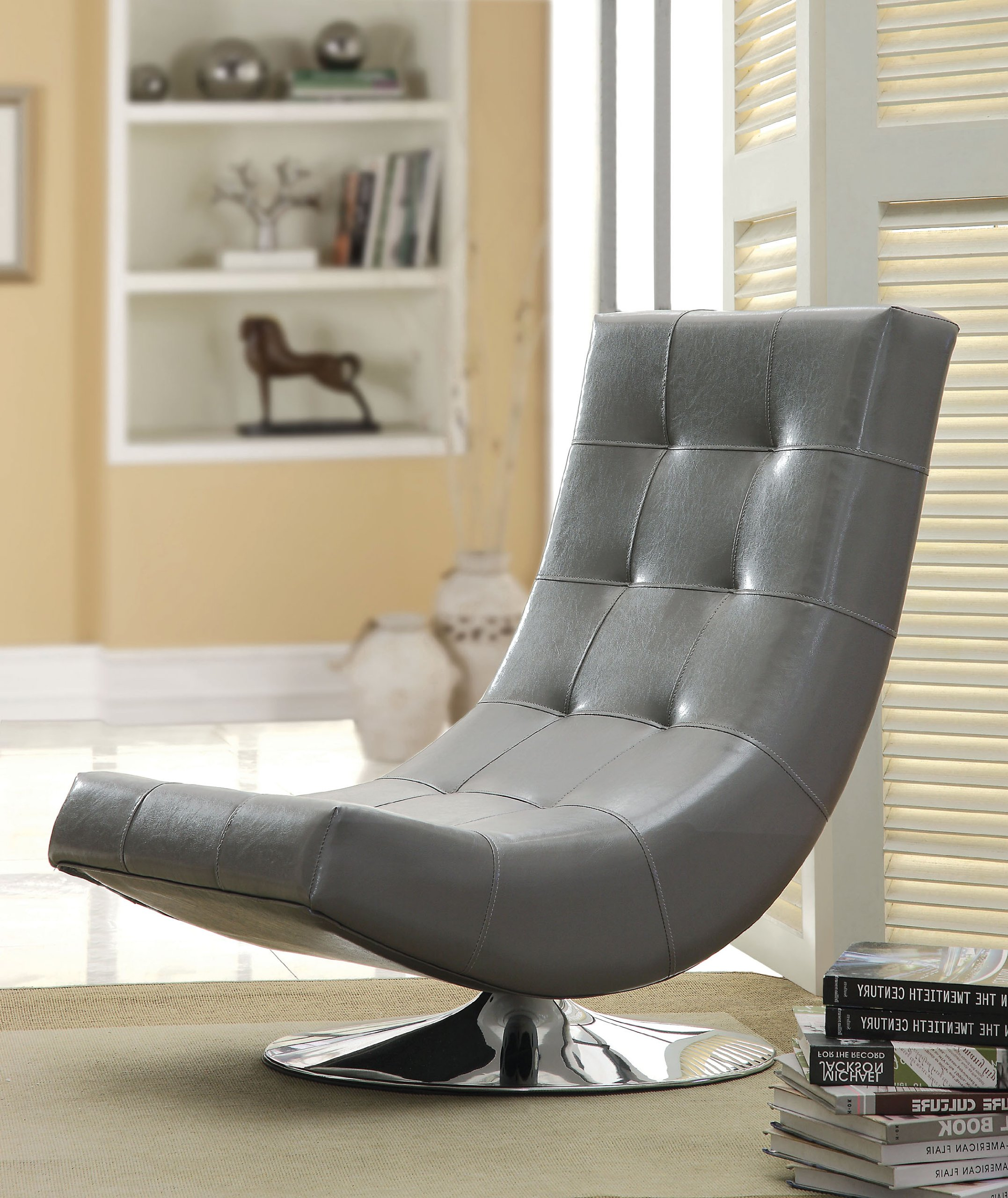 Furniture of America Dresden Leatherette Swivel Armless Accent
