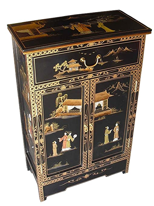 Oriental/Chinese Furniture - Antique Lacquer Cabinet with Drawer