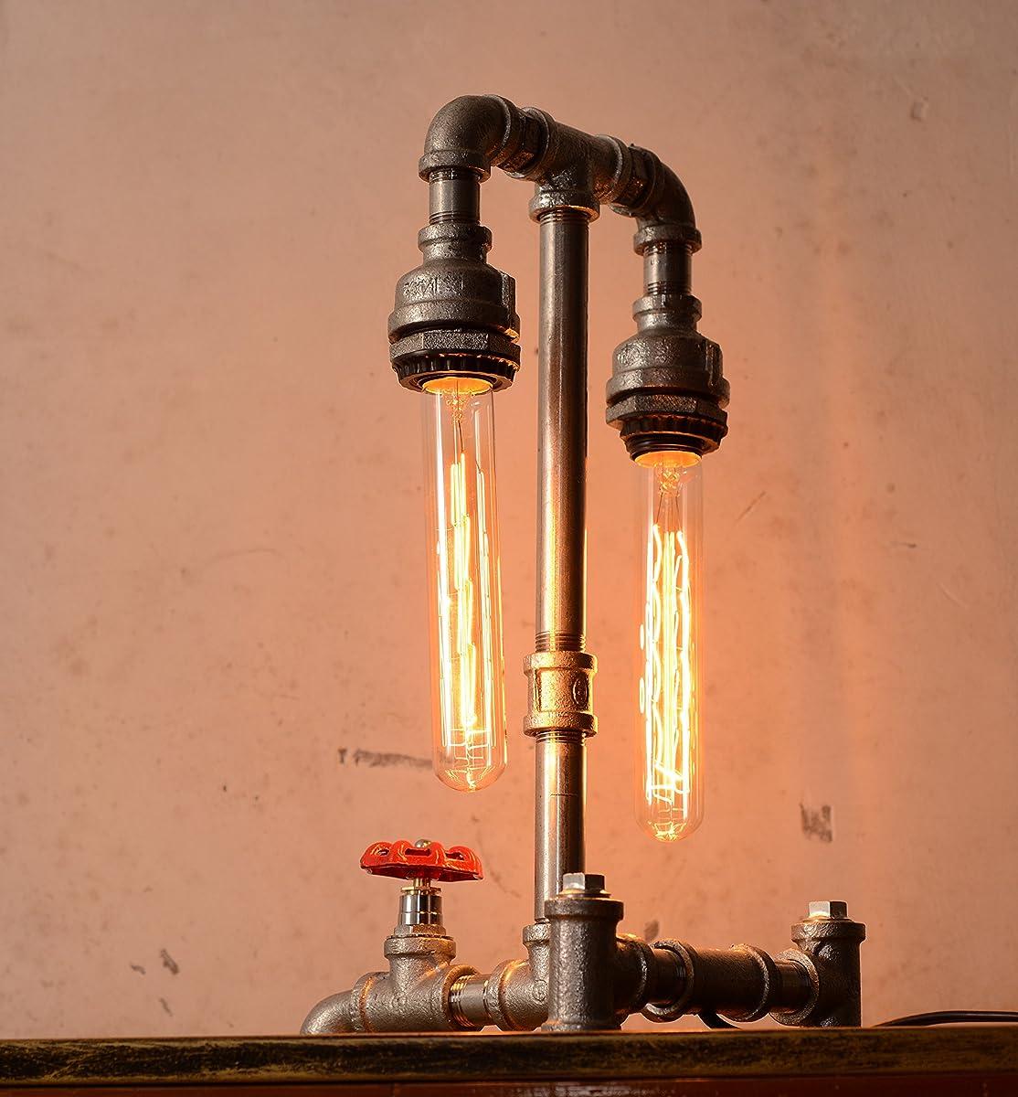 Designer Edison Vintage Style Industrial Steampunk Craftsmanship Interior Retro Pipe Table / Desk / Bedside Lamp (Double Lights)