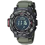 Casio Men's 'PRO TREK' Tough Solar Powered and Stainless Steel Watch, Color:Green (Model: PRW-3510Y-8CR) (Color: Green/Black)
