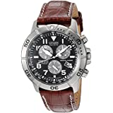 Citizen Men's Eco-Drive Titanium Chronograph Watch with Perpetual Calendar and Date, BL5250-02L (Color: Leather Band/Navy)