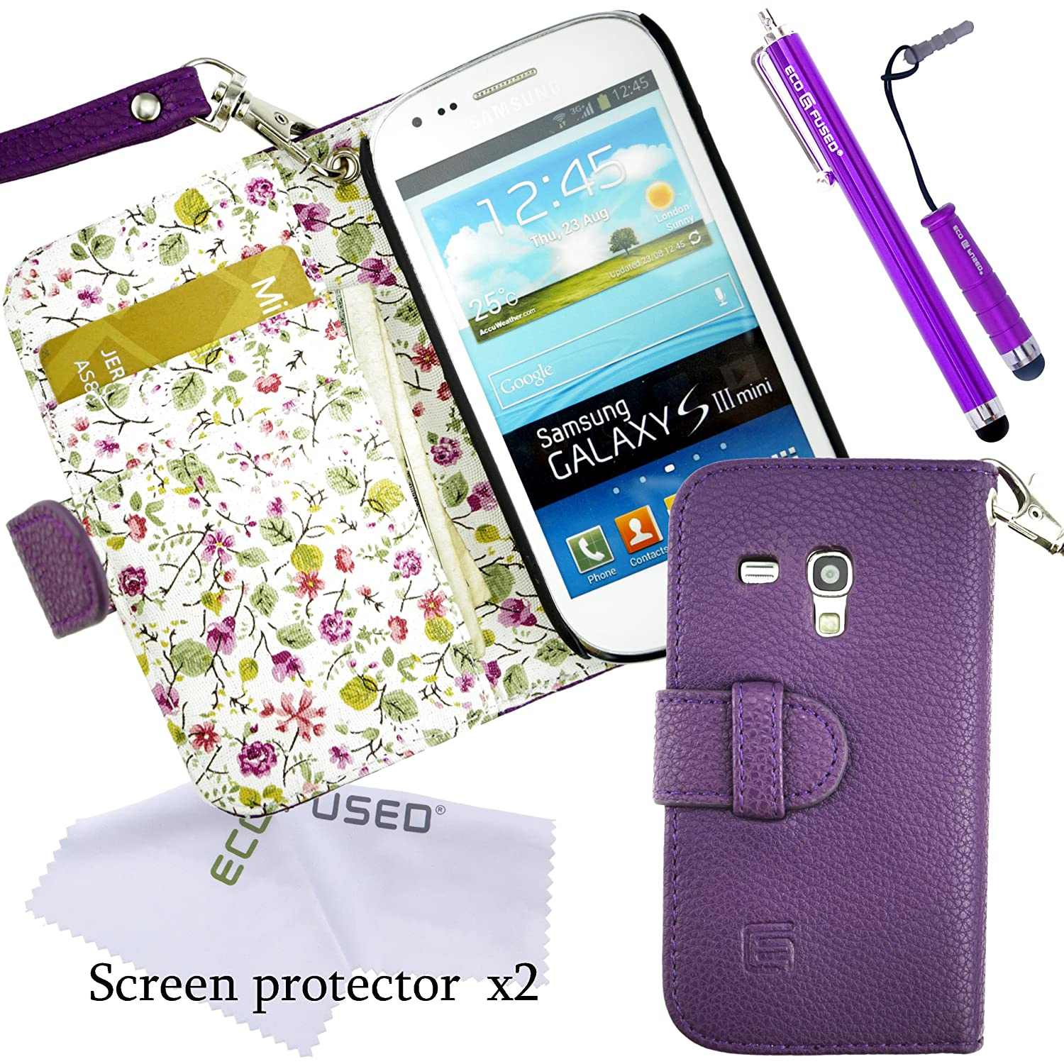 Samsung Galaxy S3 Mini Case Bundle including 1 Faux Leather Cover with Floral Interior for Samsung Galaxy S3 Mini I8190 / 1 Lanyard / 2 Stylus Pens / 2 Screen Protectors / 1 ECO-FUSED Microfiber Cleaning Cloth (Purple)
