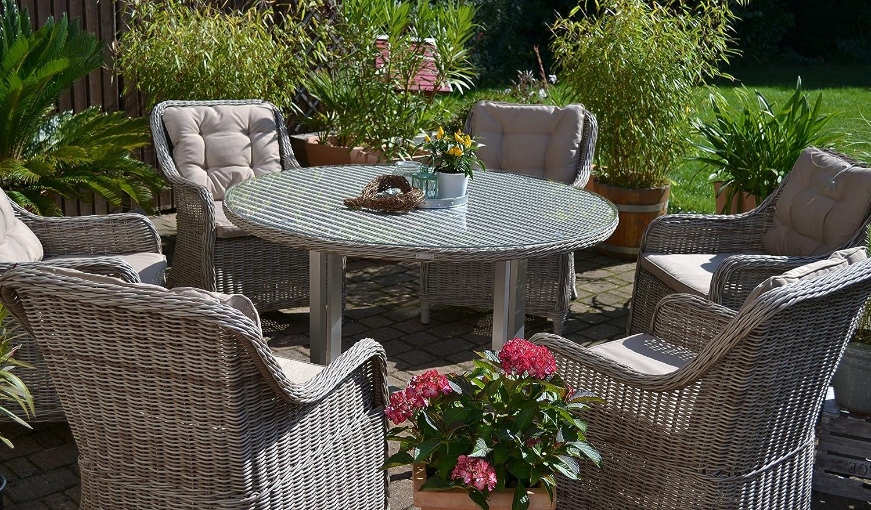 Polyrattan Sitzgruppe für 6 Personen, runder Tisch, sand-grau Geflecht Alu und Rattan bestellen