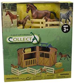 Collecta - Col89528 - Stalle À Chevaux Avec 3 Chevaux Et Accessoires