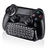 Nyko Type Pad - Bluetooth Mini Wireless Chat Pad Message Keyboard with Built-in Speaker and 3.5mm Jack for PlayStation DualShock 4 Controller (Color: BLACK)