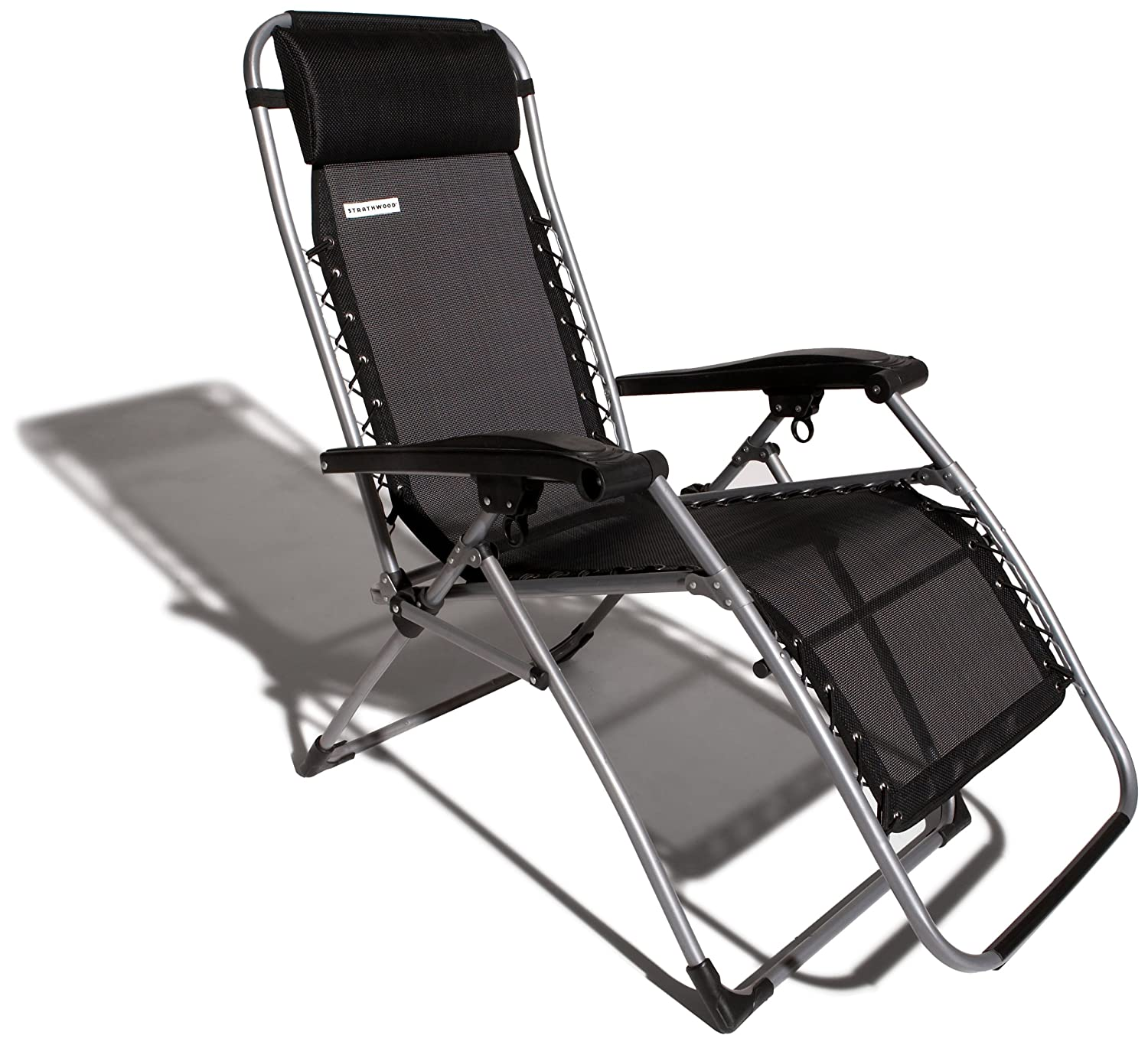 Strathwood Basics Anti-Gravity Adjustable Recliner Chair, Black with Silver Frame $49.99