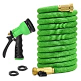 Glayko Tm 25 Feet Expandable Garden Hose - NEW 2018 Super Strong Construction- Strong Webbing -Solid Brass End + 8 Function Spray Nozzle and Shut-off Valve (Tamaño: 25 FEET)