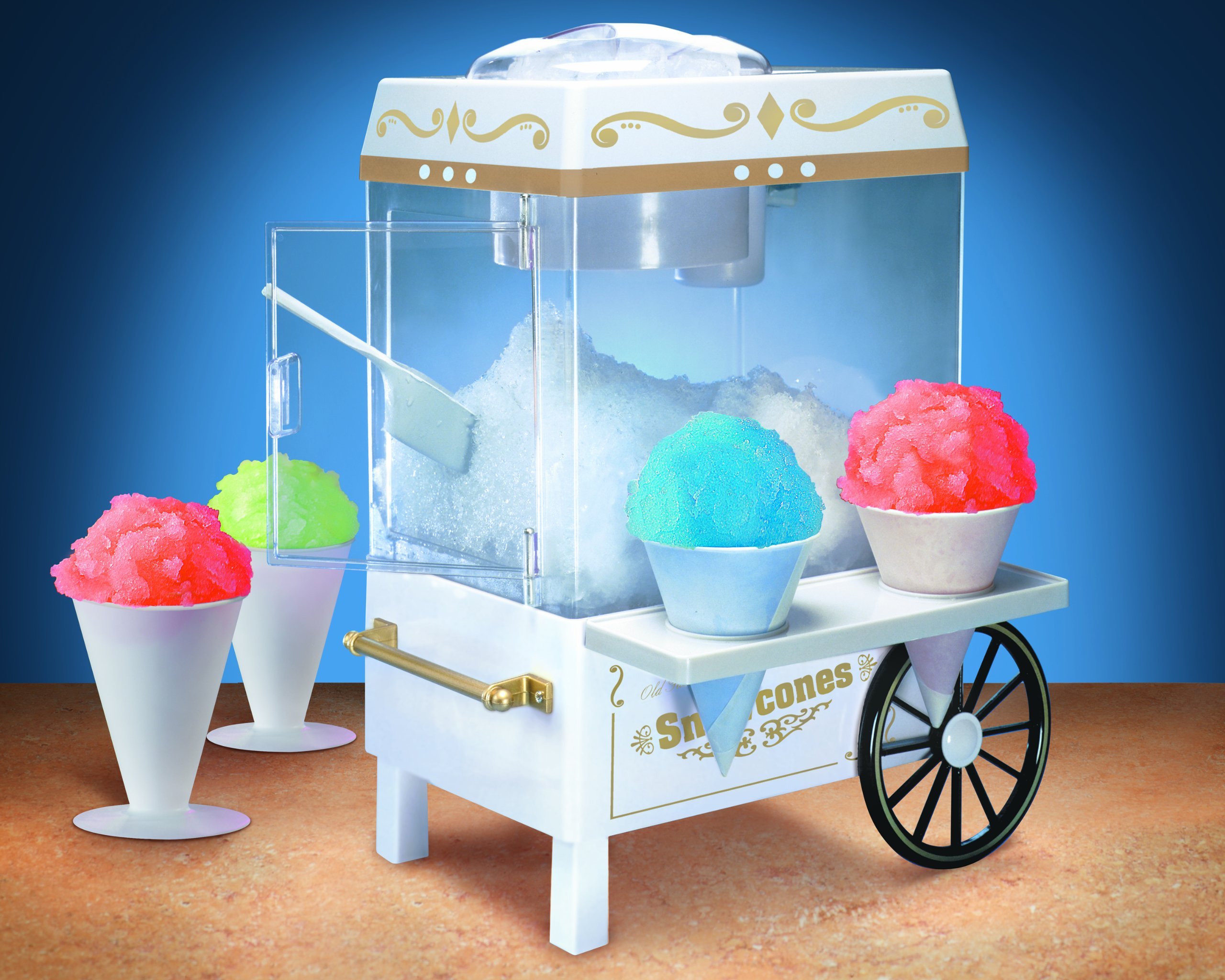 Modeled after the antique snowcone carts of the early 1900′s, this nostalgic countertop snow cone maker shaves ice cubes into snow.