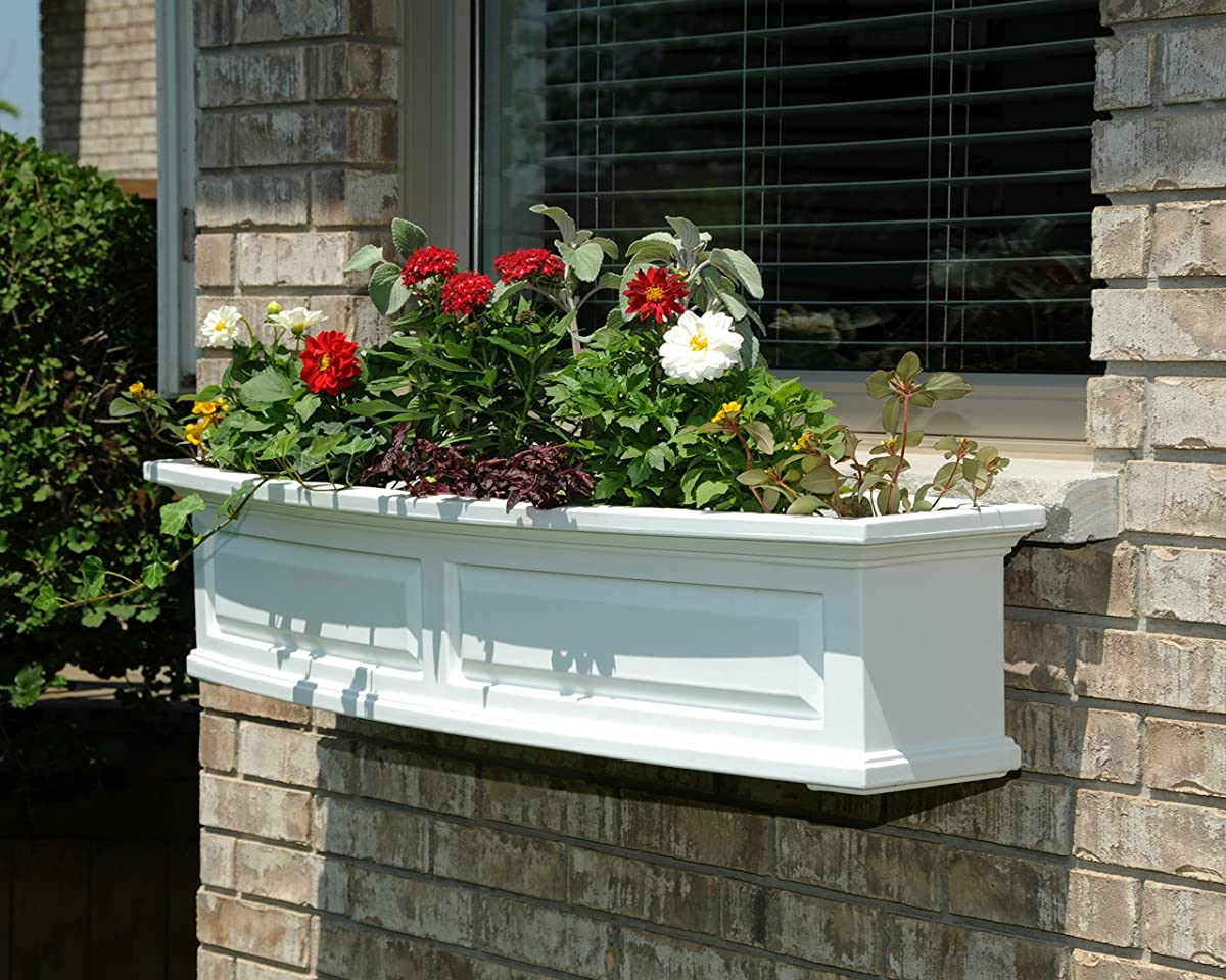 Mayne 4831-W Nantucket Polyethylene Window Box, 4 , White