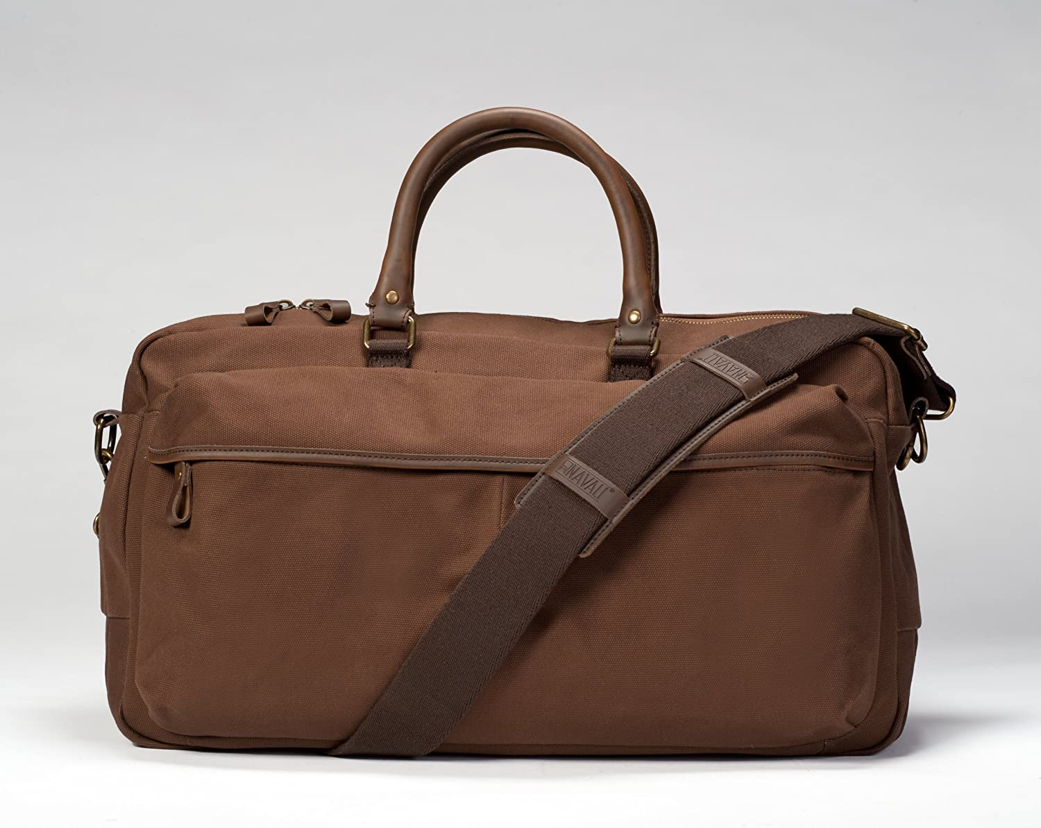 Navali Stowaway Canvas and Leather Weekender Bag, Carafe