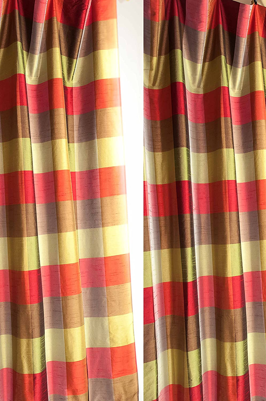 Green,red & copper buffalo checks lined faux silk curtain