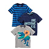 Simple Joys by Carter's Baby Boys' Toddler 3-Pack Graphic Tees, Awesome, Stripe, Dino, 2T (Color: Awesome, Stripe, Dino, Tamaño: 2T)