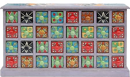 BHP B421539 India cómoda, porcelana y madera, 33 x 58 cm, Multicolor