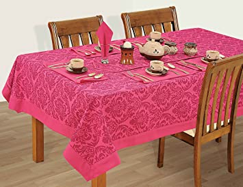 Buy Swayam Libra Printed Cotton 6 Seater Table sheet - Magenta ...